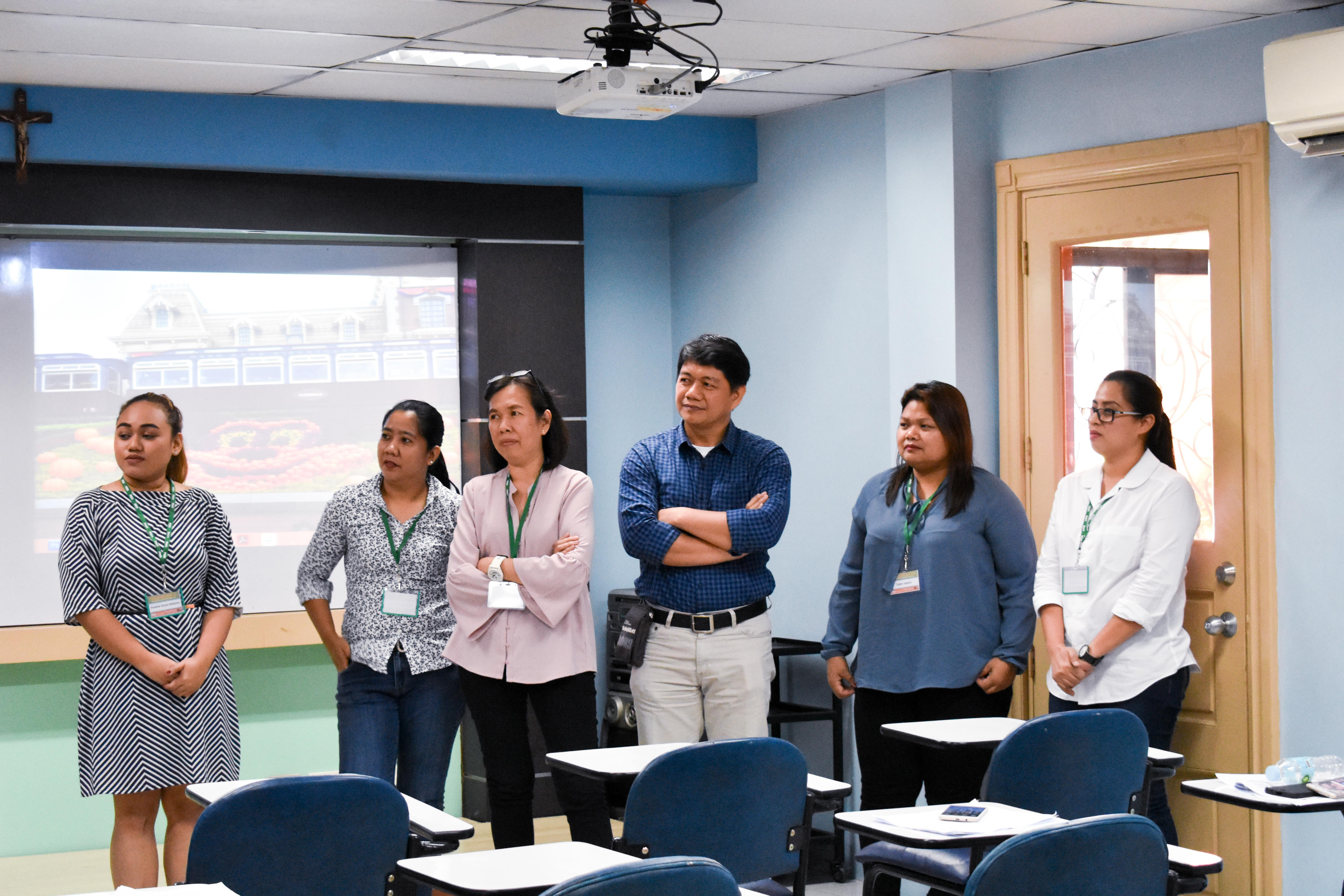 UPOU FEd members participate in a Q & A Session after the panel presentation. Presenters include (L–R) Ms. Pauline Grace R. Milante, Ms. Rubielita Parcon, Ms. Rhonna Marie R. Vereña, Dr. Ricardo T. Bagarinao, Ms. Eden M. Salon, and Ms. Lorelee R. Mones.